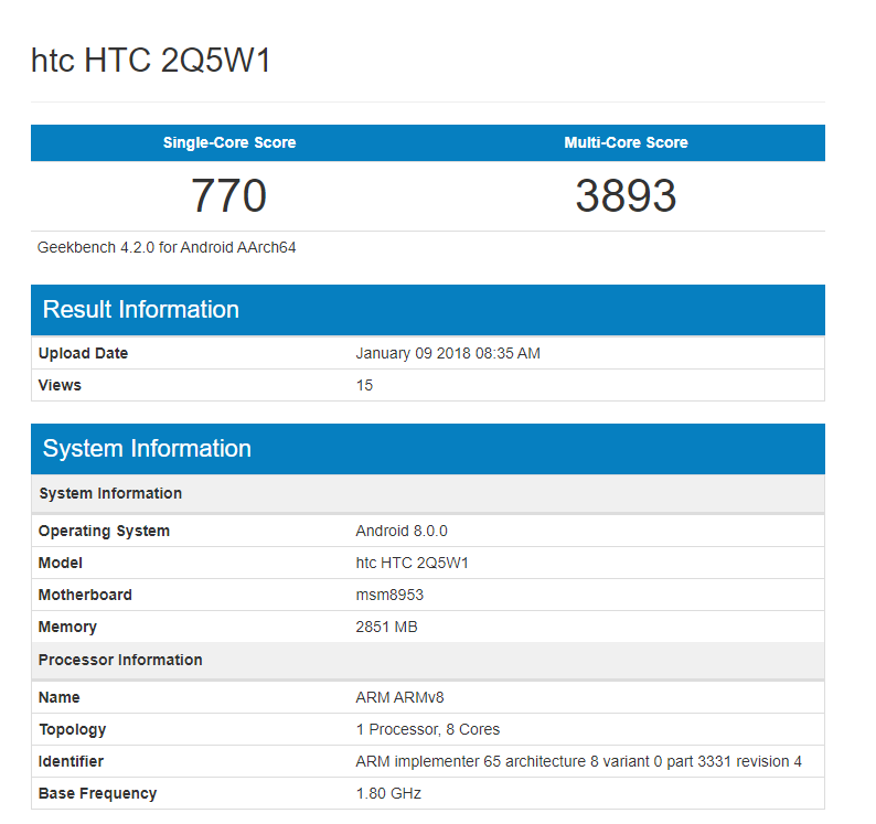 HTC 2Q5W1 with Snapdragon 625, 3GB RAM appears on Geekbench image 2