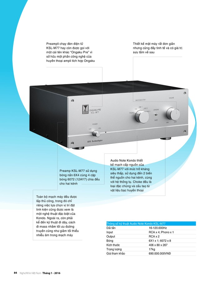 Editor's Choice 2015: Preamp - Audio Note Kondo KSL-M77 ảnh 2